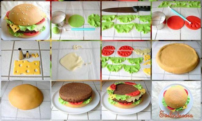 Торт в виде гамбургера мастер класс