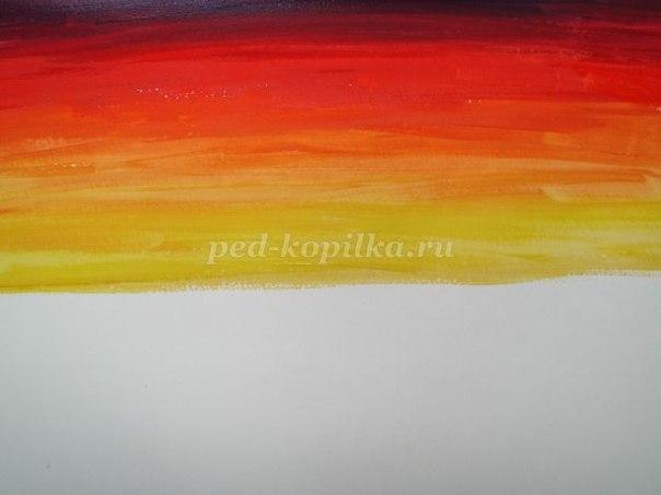Как нарисовать закат на море гуашью поэтапно