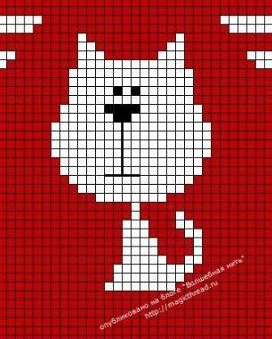рисунок по клеткам кошка9