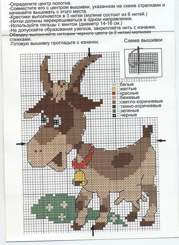 Вышивка крестом коза фото 360-582