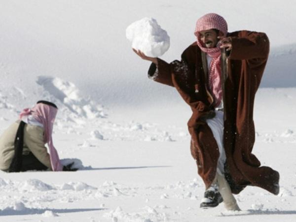 Снег; Пустыня; Саудовская Аравия; Аномалия