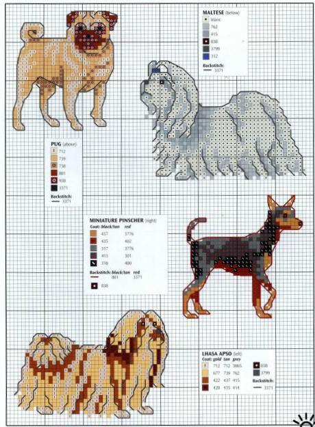 примеры схем вышивки собак