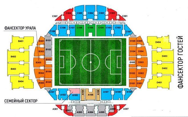 схема мест Екатеринбург арена