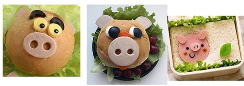 бутерброд в виде поросенка на Новый год 2019 Свиньи
