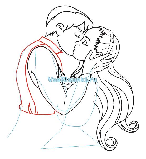 Поцелуй двух девушек и парня
