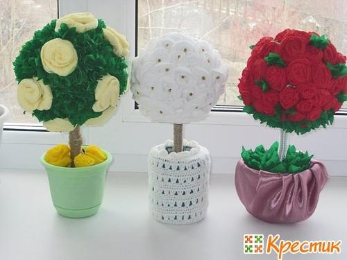 Цветы в горшках топиарий