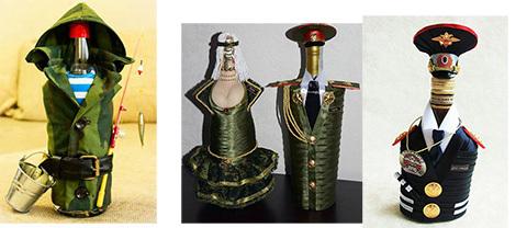 декор бутылки в виде солдата св. руками на 23 февраля