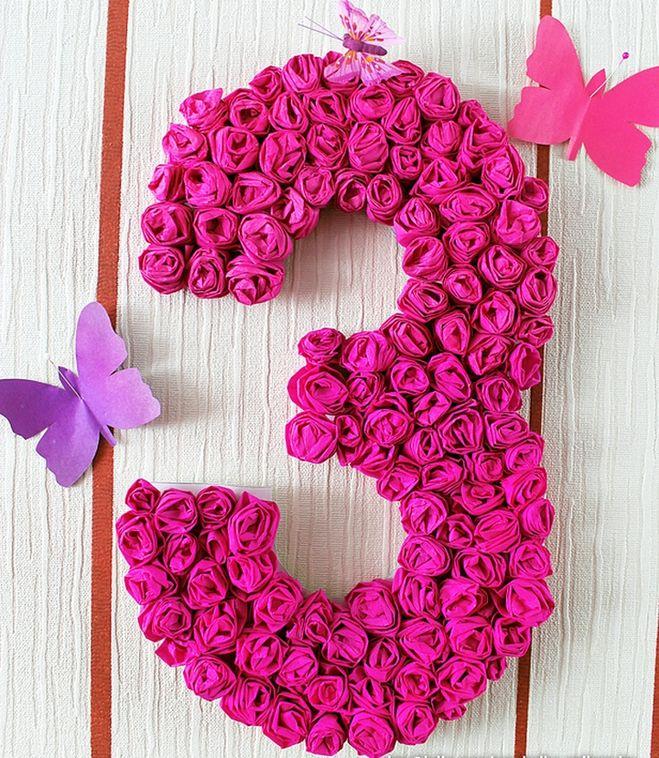 Как сделать цветы на цифру для дня рождения 83