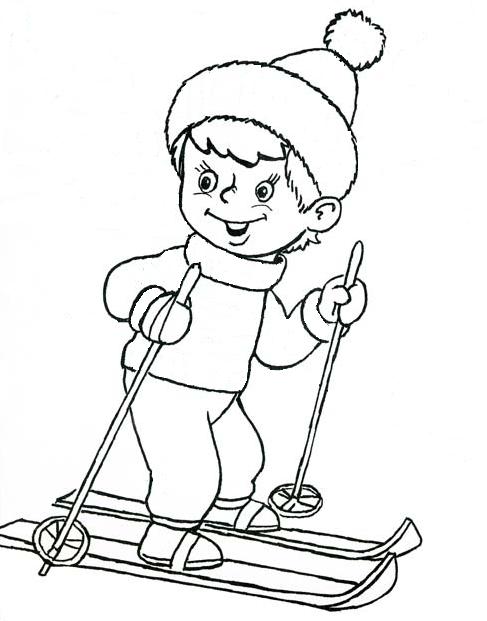 Раскраска человека на лыжах