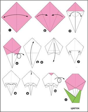 Kak Sdelat Origami Cvetok
