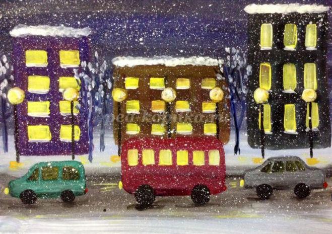 как нарисовать зимний город поэтапно для детей 5-8 лет мастер-класс