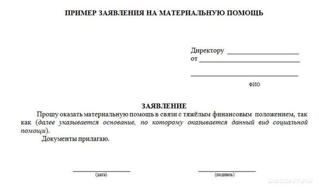 Образец Заявления На Выплату Материальной Помощи К Отпуску