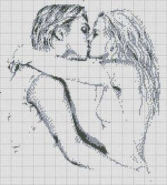 как нарисовать по клеткам поцелуй4