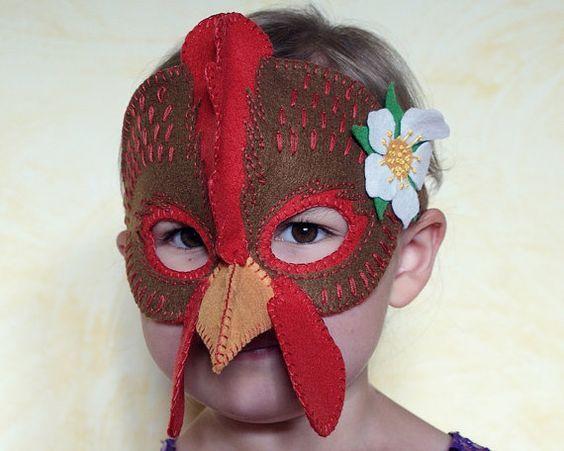 маска петуха на Новый год, маска петуха своими руками, маска петуха из бумаги, шаблоны маски петуха, маска петуха из фетра