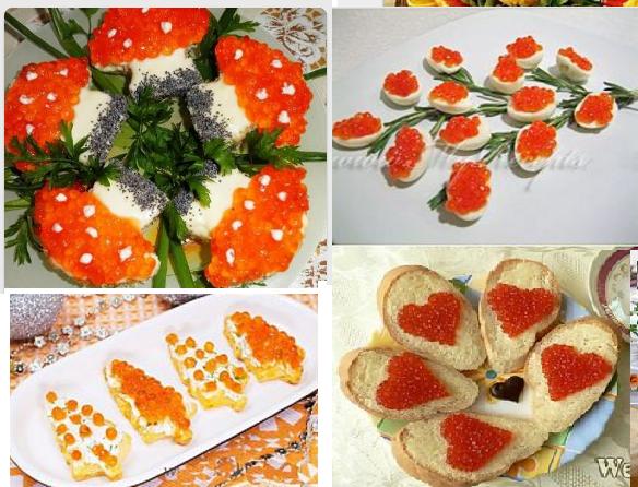 Как сделать бутерброды с красной икрой в тарталетках