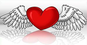 Сердце с крыльями, эффект объемности, какой поэтапный рисунок