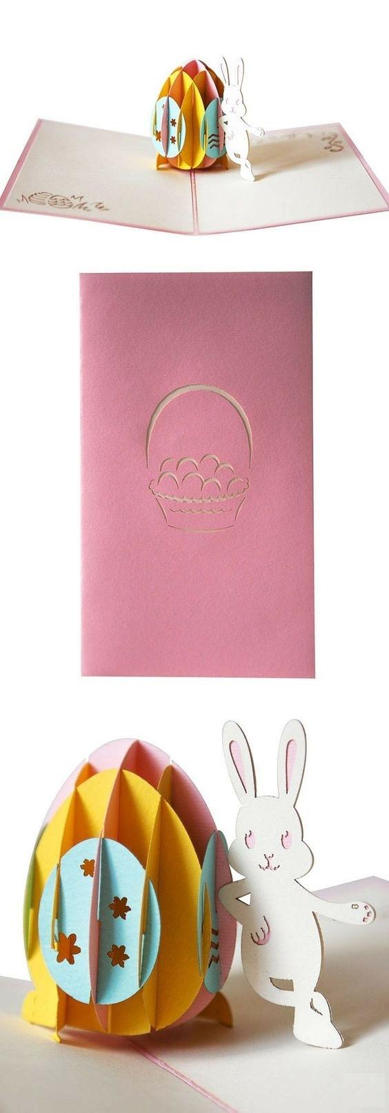 pop up объемная открытка с зайчиком