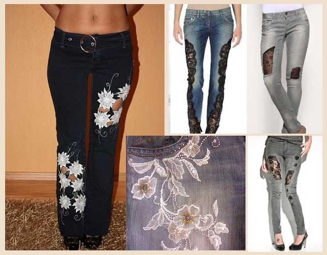 Гипюр на джинсах своими руками 12