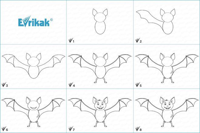 Рисуем летучую мышь поэтапно с детьми