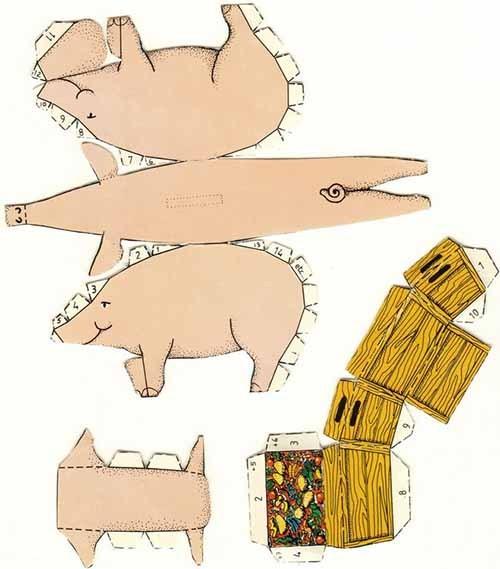 объемная свинья из бумаги шаблон