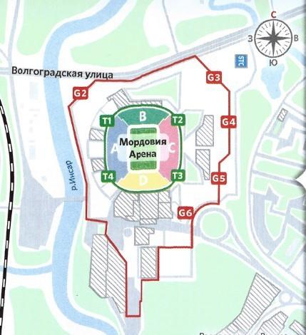 стадион Мордовия Арена Саранск расположение