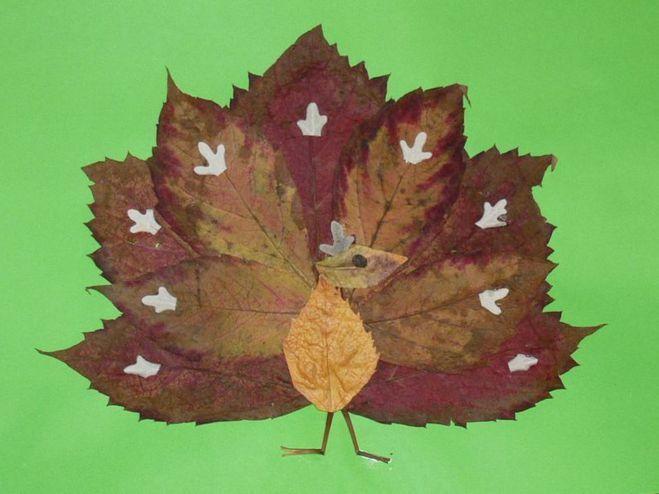 Из листьев поделка фото