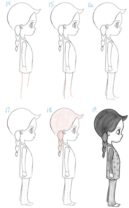 как нарисовать девочку карандашом поэтапно
