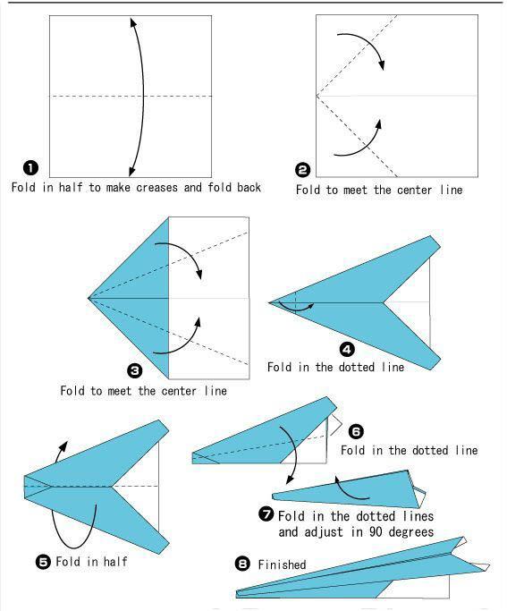 Как сделать из бумаги самолет без клея, который летает 100 метров?