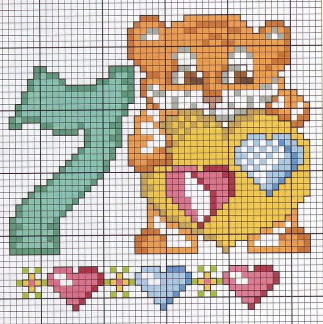 схема вышивки цифра семь