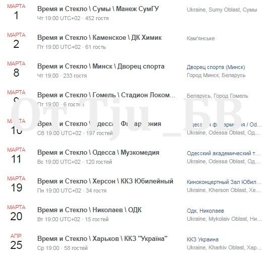 концерты Время и Стекло