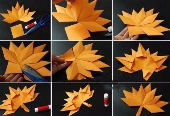 Оригами кленовых листьев