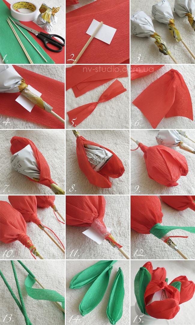 Цветы из бумаги с конфетами своими руками розы
