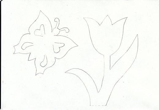 объемная открытка киригами с цветами шаблон