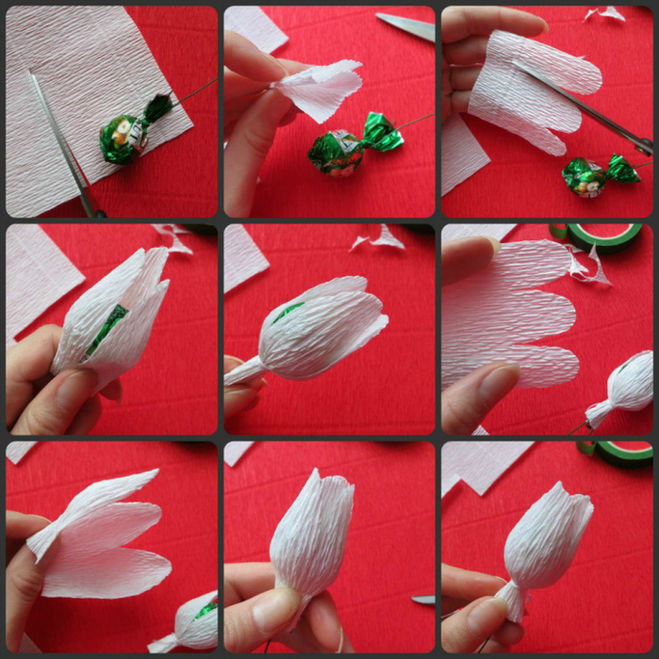 Изготовление букетов из конфет из гофрированной бумаги своими руками 93