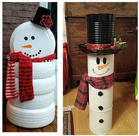 снеговик из шин и жестянок