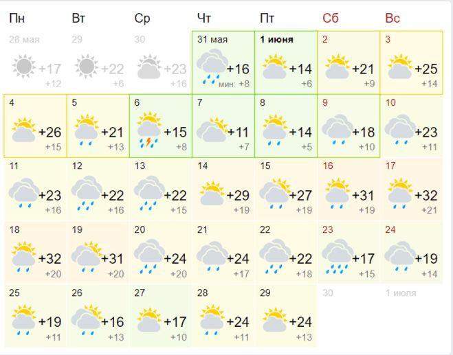 Погода в Москве на июнь 2018 (30  дней) от Гисметео
