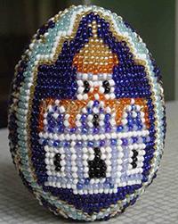 вышивка бисером с храмом оплетение яйца