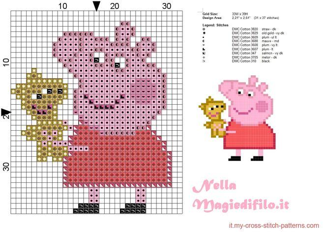 Схема свинки пеппы вышивка 212