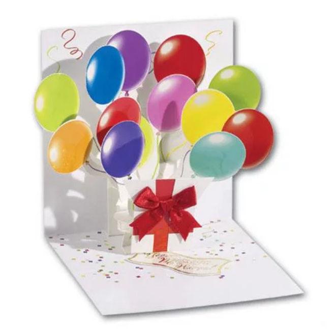 Объёмная открытка с шарами своими руками - шаблон для скачивания