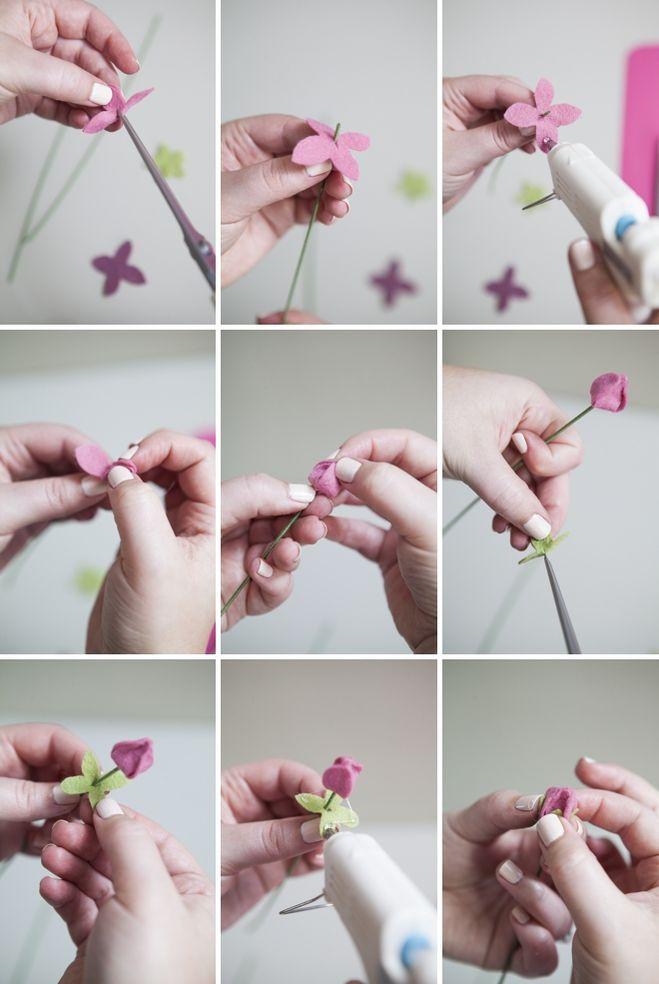 Как сделать букет из фетра своими руками 76