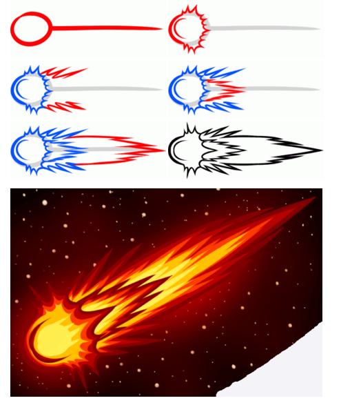 Нарисовать комету поэтапно