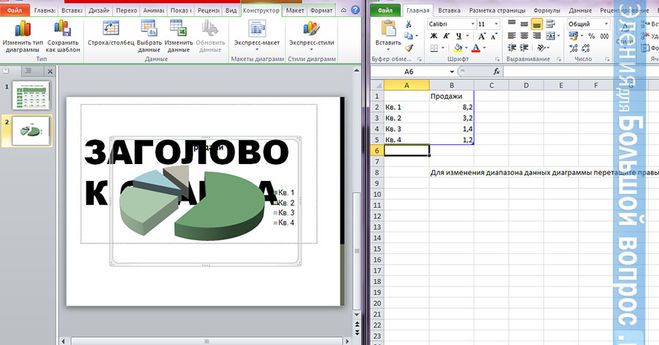 Круговая диаграмма в Powerpoint - как сделать?