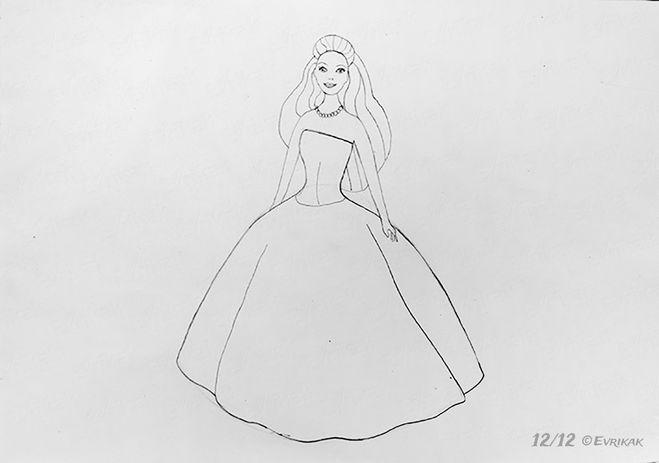 Рисовать барби с платьем