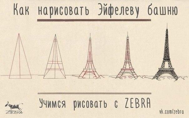 Как рисовать эйфелеву башню карандашом