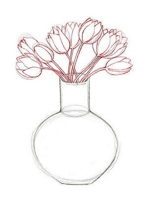 Цветы в вазе карандашом рисунки