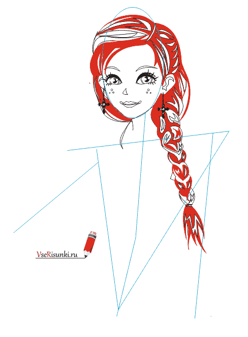 Рисовать голову девушки поэтапно