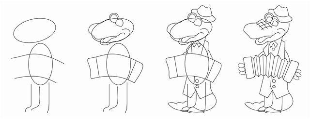 Как нарисовать крокодил гена