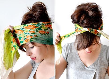 Как сделать платок на голове как повязку