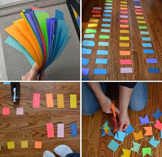 Как сделать бумажную гирлянду на день рождения своими руками 104