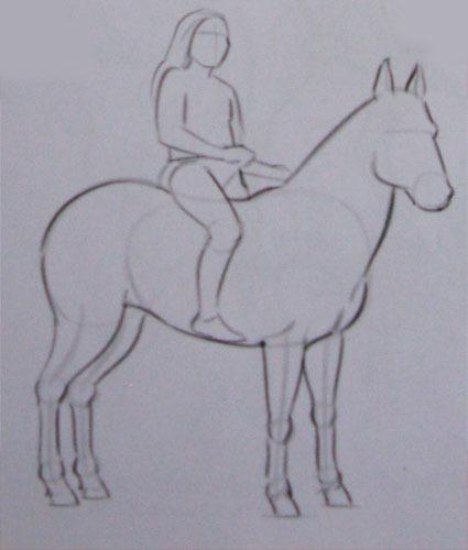 Рисуем лошадей с наездником